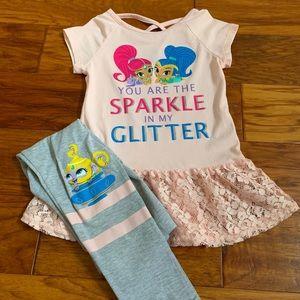 Girls Shimmer and Shine t-shirt and legging set.